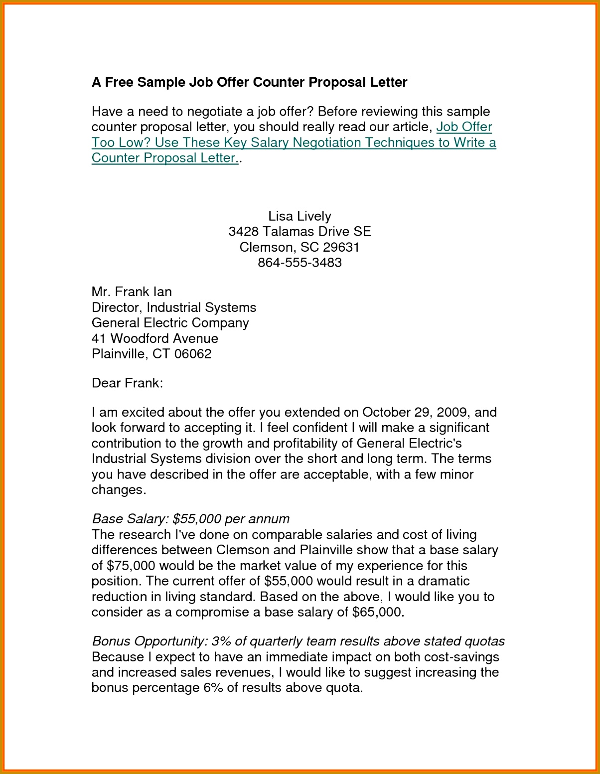 sample counter offer letter template design example inventory 15531204