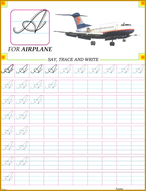 Cursive capital letter A Z practice worksheet Download Free Cursive capital letter A practice worksheet for kids 673515