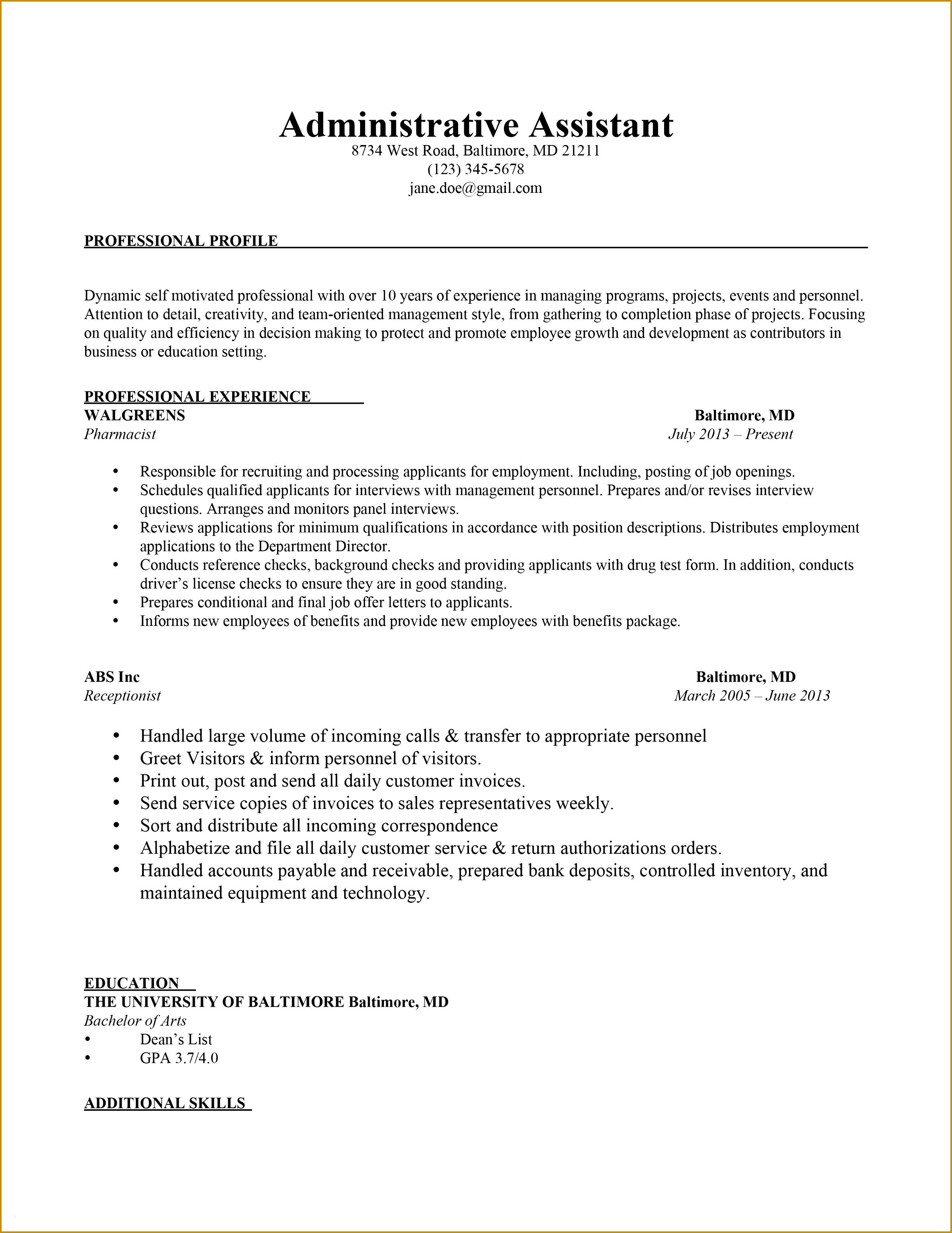 Administrative assistant Job Resume Inspirational Elegant Example Resume Cover Letter Lovely Od Specialist Sample 30692371