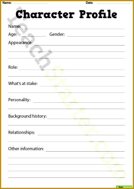 Detailed Character Profile Worksheet Teaching Resource 657465