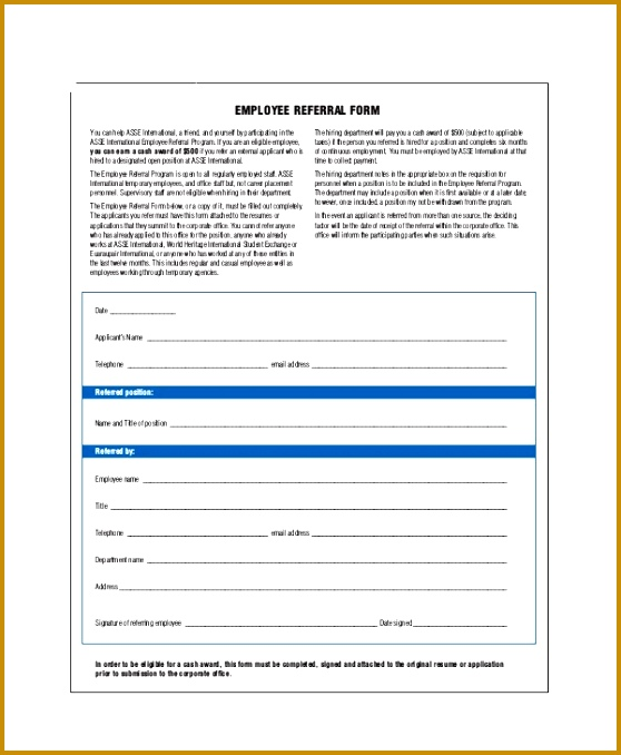 10 Sample Referral Forms Sample Templates 678558