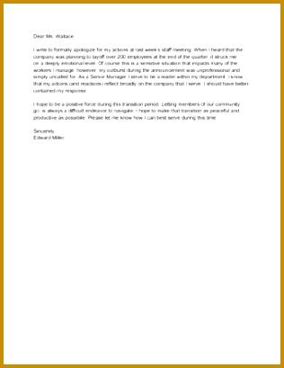 Sample Formal Letter of Apology 409316