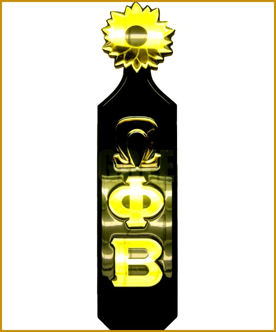 Omega Phi Beta paddle with the Greek letters vertically down the paddle and a sunflower handle 558672