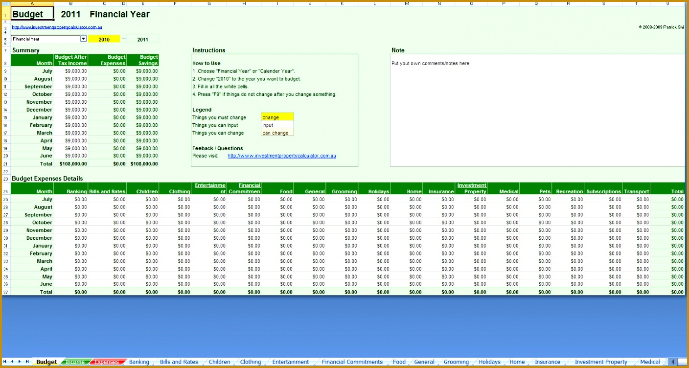 Excelpreadsheet Bud Planner Free Coles Thecolossus Co Template Household India Monthly 7521408