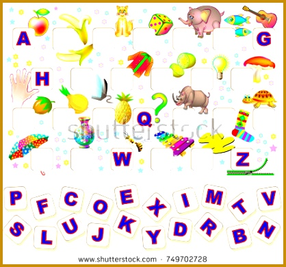 Worksheet for children with exercise for study English alphabet Find the missing letters and write 418390