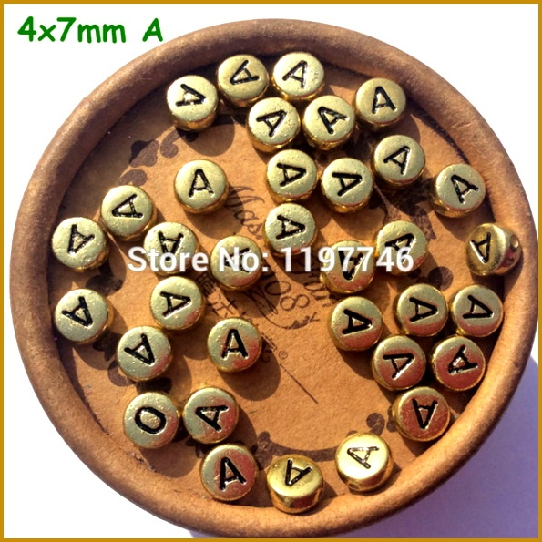 Mini Order Gold Single Alphabet A Beads 4x7mm 100pcs Acrylic Flat Round English Alphabet Letter Beads 595595