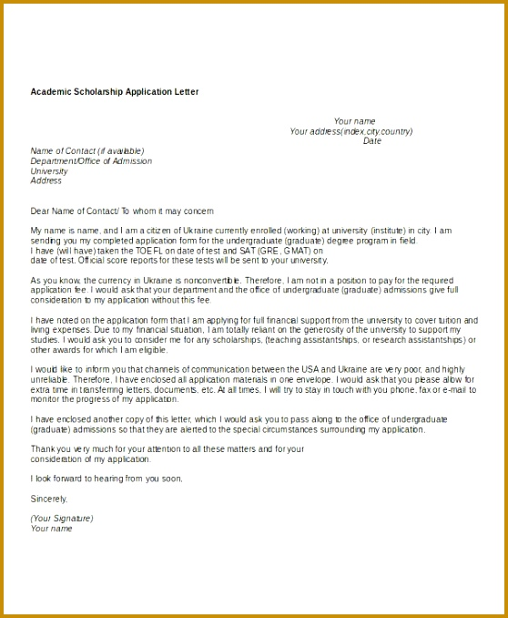 Scholarship Application Letters 8 Free Word PDF Documents 678558