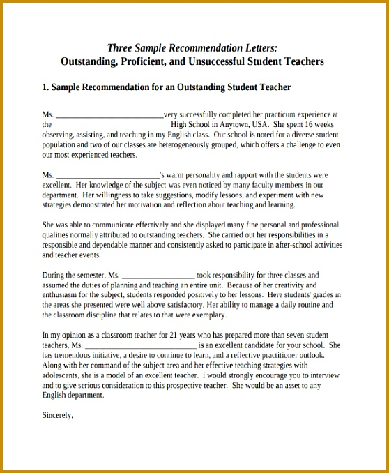 Student Teacher Re mendation Letter 558678
