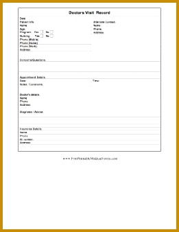 Patients and caregivers can keep records of visits to the doctor with this simple form including 261338