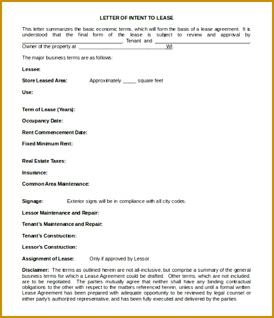 Simple Blank Letter of Intent to Lease Template 632544