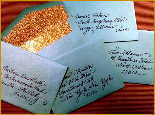 "Shimmer envelopes with glittery gold liners ""fancy script"" writing style in slick black opaque ink Love 595443"