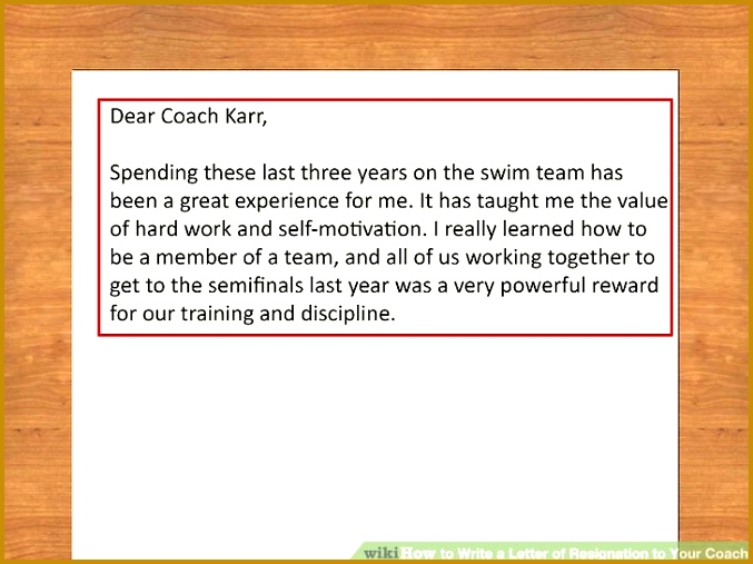 Image titled Write a Letter of Resignation to Your Coach Step 1 677507