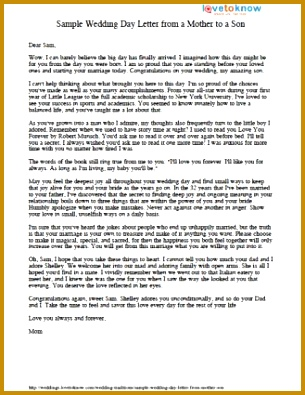Printable letter from mother to son 305395