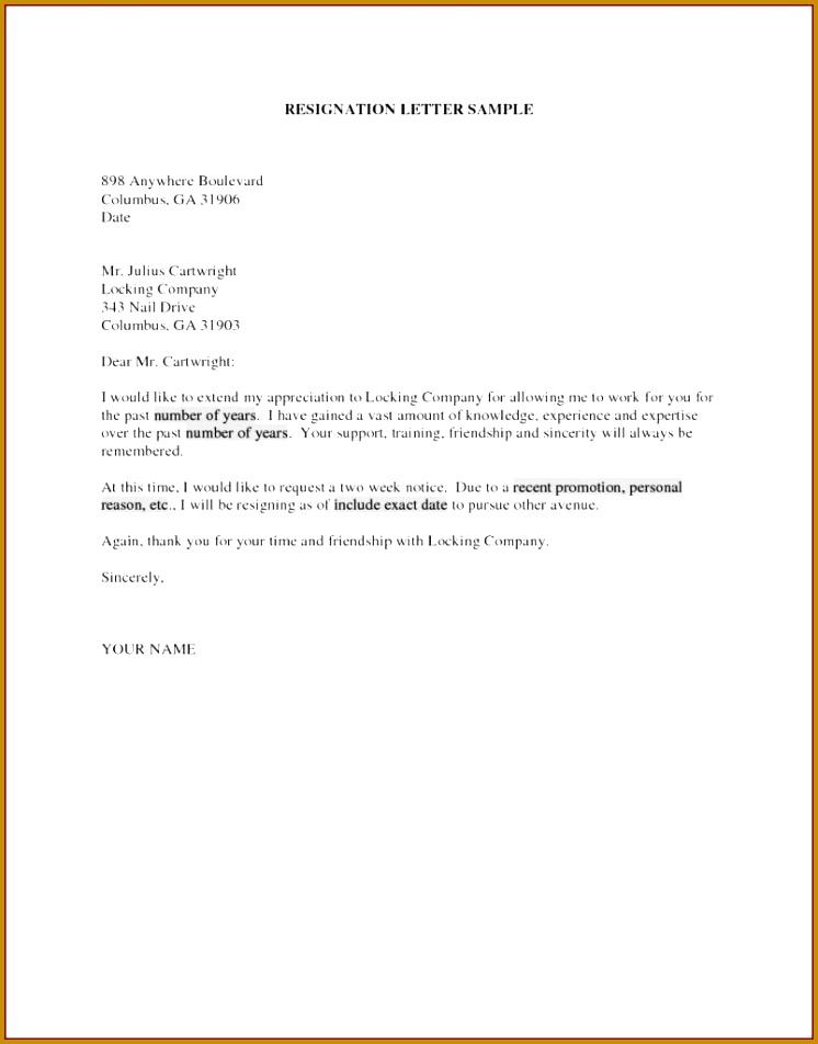 Sample Resignation Letter Template Doc Copy Letter Resignation 2 952746