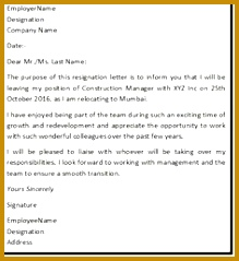 """Resignation Letter Format with reason describing the reason of resignation as """"Reason For Relocation"""" 219239"""