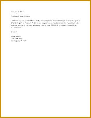 Sample Permission Letter for Travel 409316