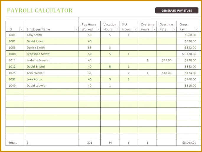 free pay stub template Payroll calculator with pay stubs fice Templates 513684