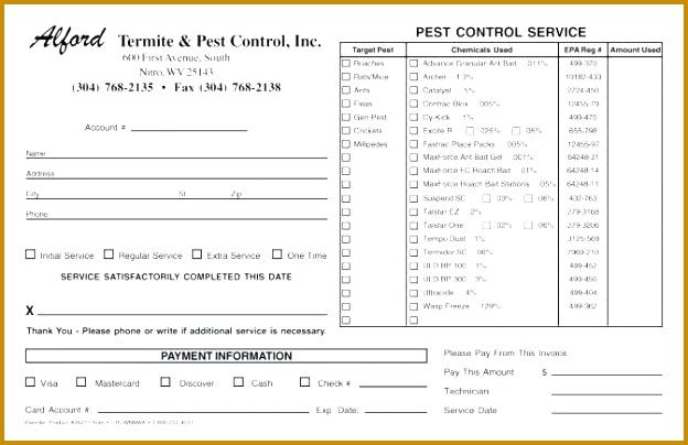 Invoice Control Service Slip Invoice Part Pest Control Format Pest Pest control invoice template free 404624