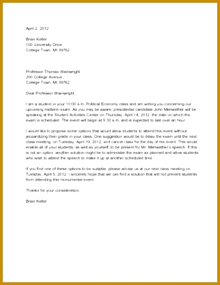 Sample Persuasive Letter to Professor 409316
