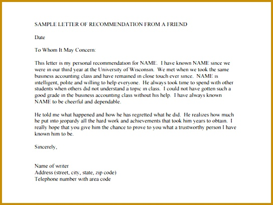 22 re mendation letters for a friend free sample example letter of 22 re mendation letters for a 409544