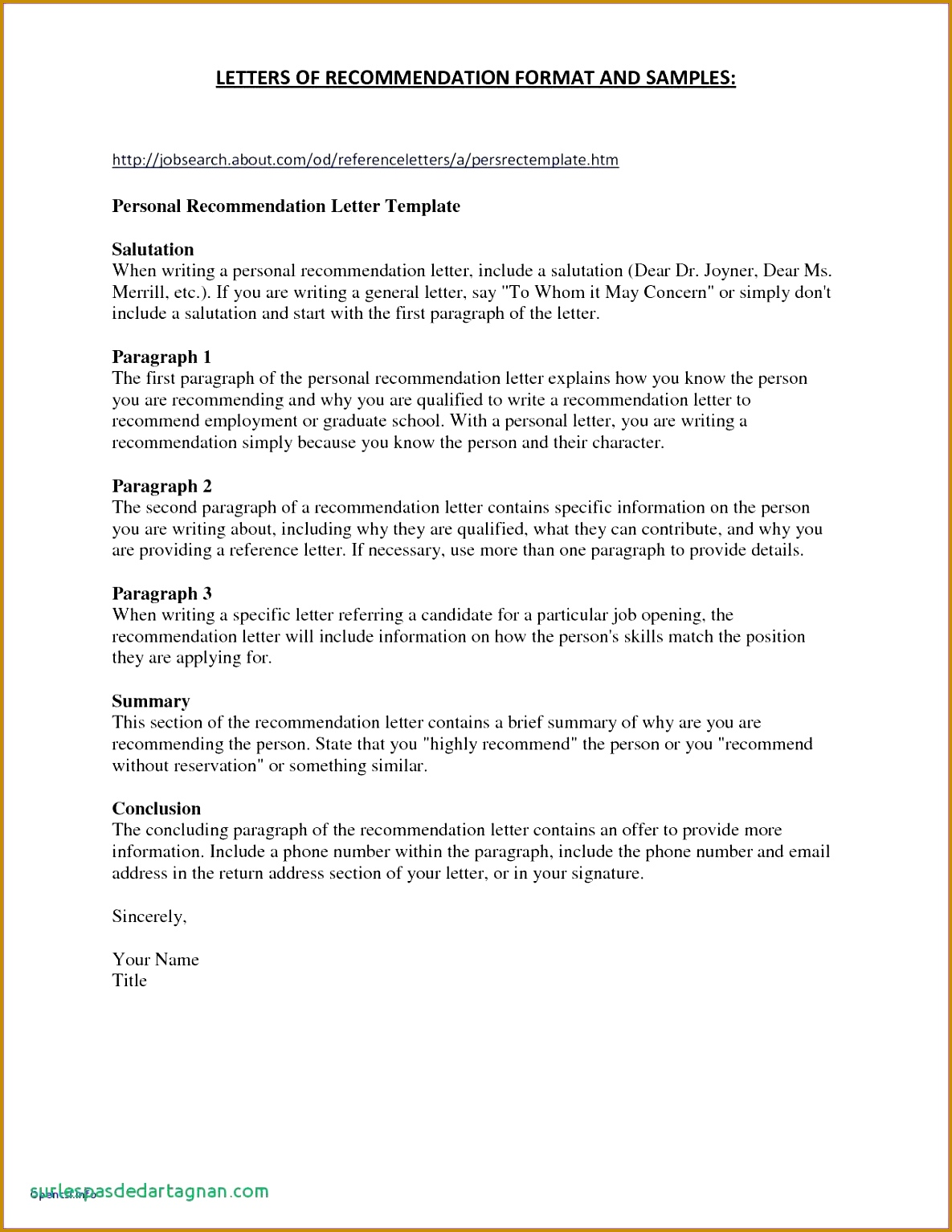 20 Personal Re mendation Letter Template 15341185