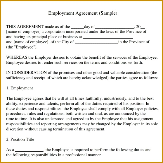 Employment Agreement Letter Fresh Simple Employment Agreement Awesome Od Interventions and their 47 Inspirational Employment 558558