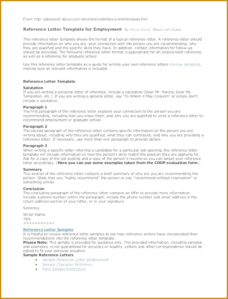 Giving A Reference Template Sample Letter For Employment Job Word 995760