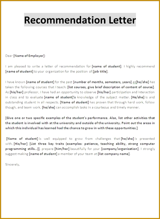 Examples Letter Re mendation Templatecaptureprojects 884645