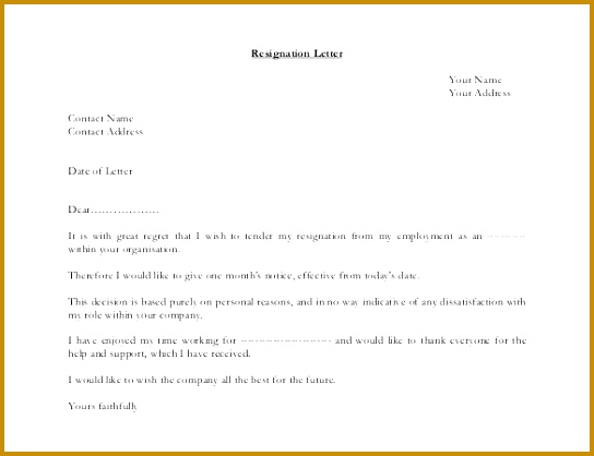 personal response resignation letter simple sample 418544