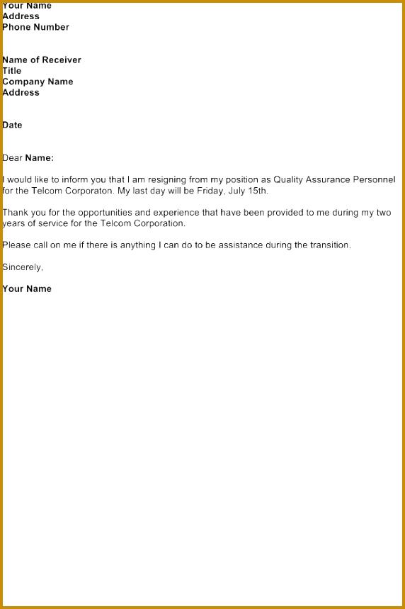 Resignation Letter – Quality Assurance 859572