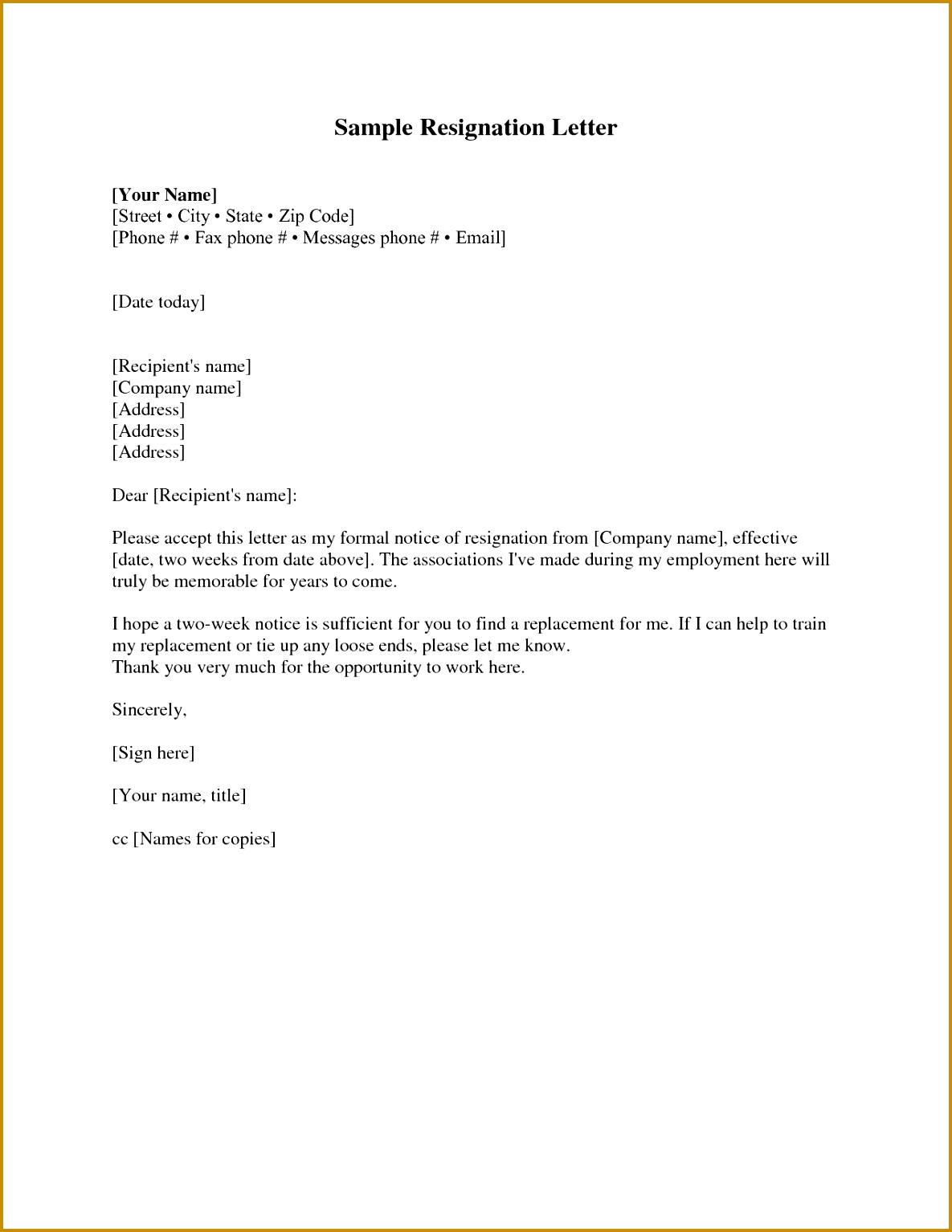 Letter To Quit Job Example Valid Resignation Letter Sample 2 Weeks Notice Free2img 15341185