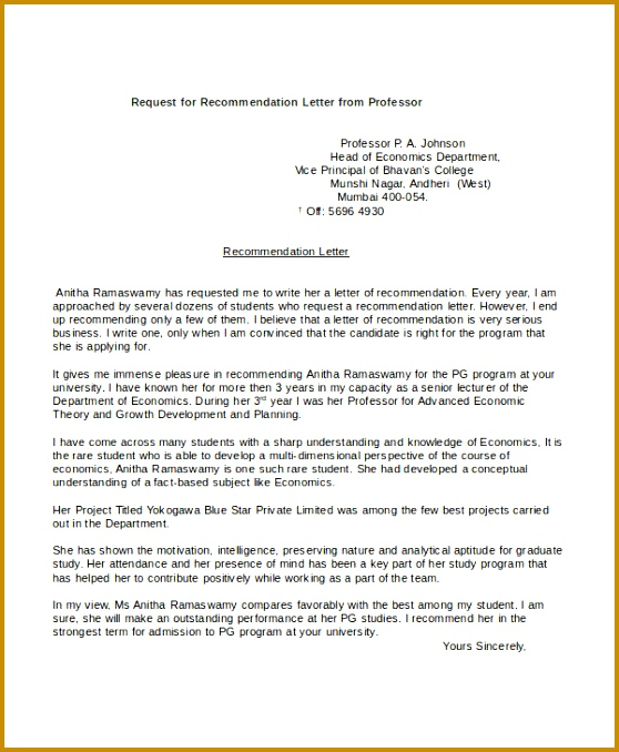 Re mendation Letters from Professor Re mendation Request from Professor for Student apexstudent 678558