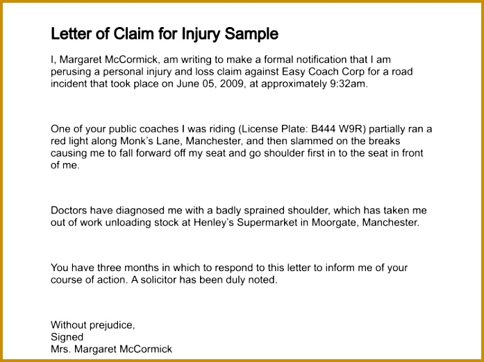 letter of claim for injury sample 139 1 522697