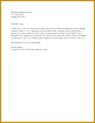 Sample Business Thank You Letter 409316