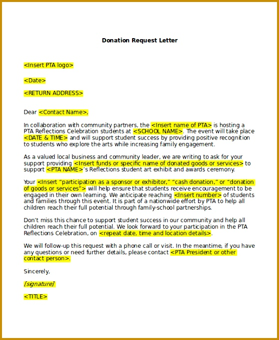 Donation Request Letter Template 558678