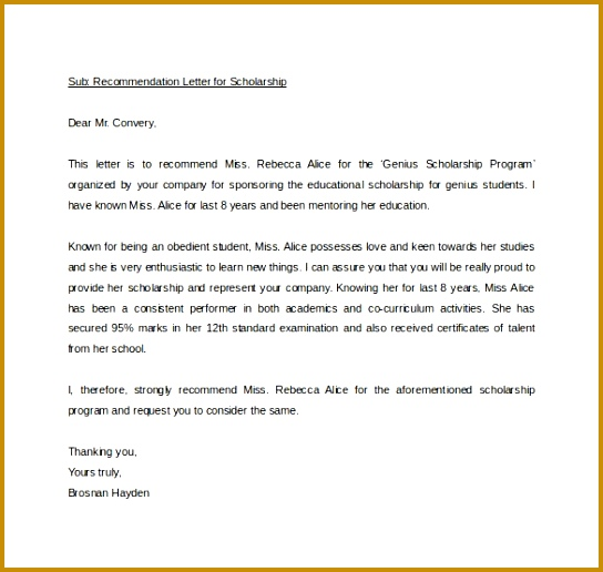Self Nomination Letter Example Re mendation For Award Simple 516544