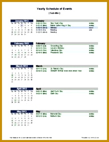 sample 3 month calendar template Free Yearly Schedule of Events Template 284219