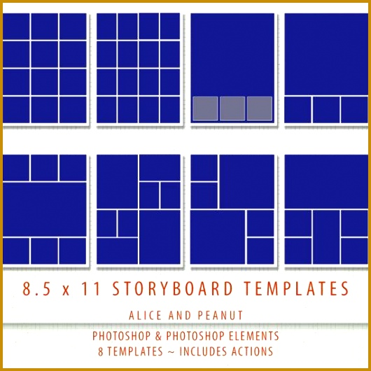 8 5x11 8 x PSD Storyboard grapher & Digital Scrapbook Storyboard Templates shop and 530530