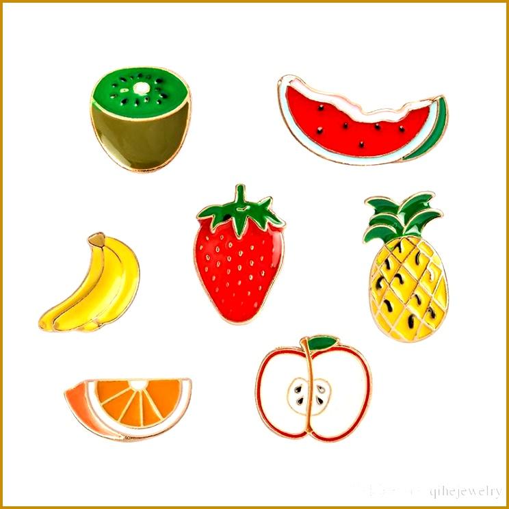 Fruit Brooch Pin Badge Watermelon Kiwi Strawberry Orange Banana Apple Pineapple Sumer Jewelry Cute Fruit Jewelry 744744