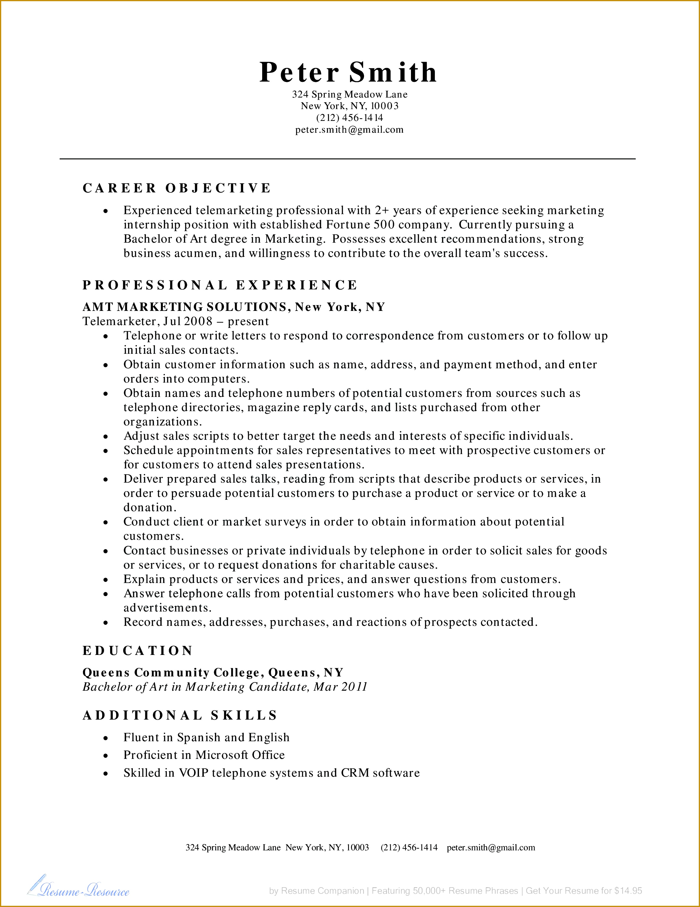 Resume for Teaching Profession Best Telemarketer Resume Example Business Resume Example 23713069