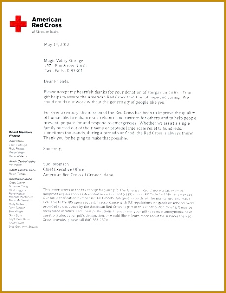 American Red Cross Thank you letter for their donated storage unit 595459