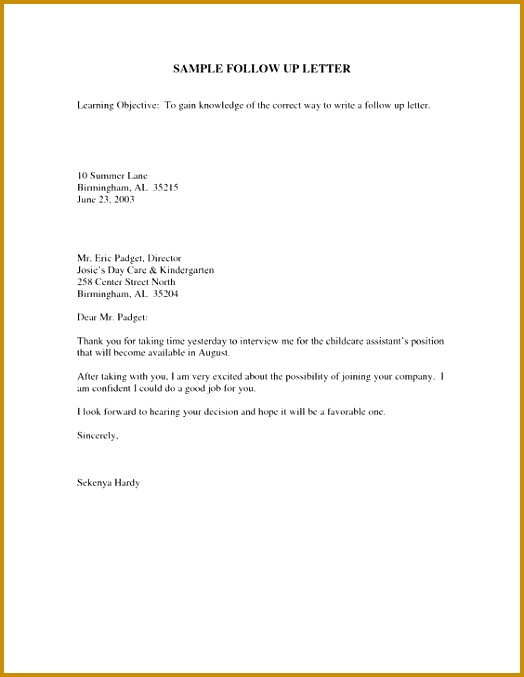 Sample Follow Up Email After Interview 524677