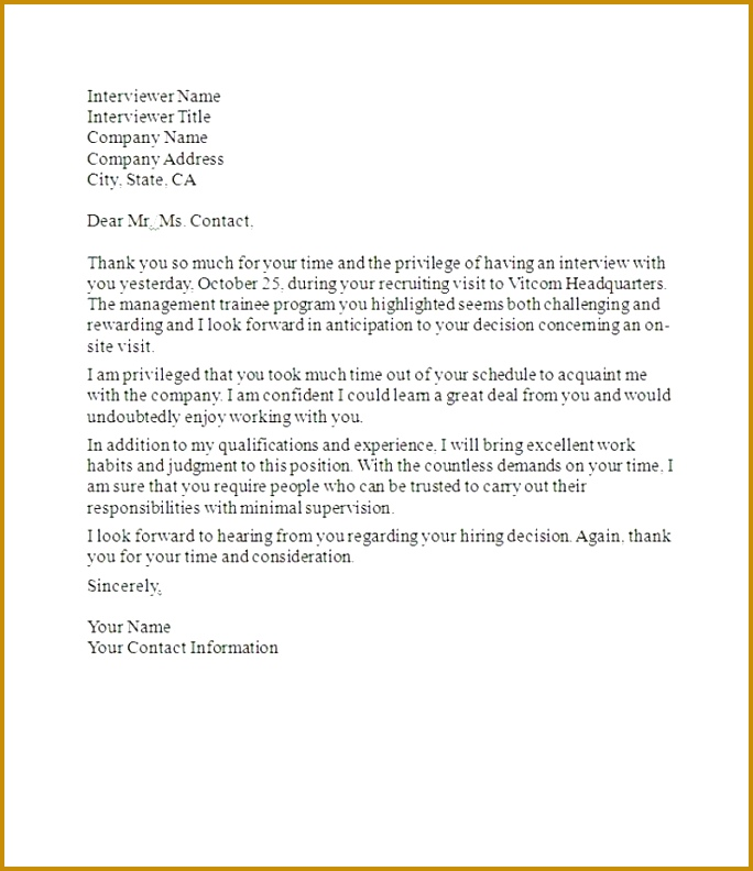 sample post interview thank you letter Job Interview Thank You Letter interview thank you letters after 792684