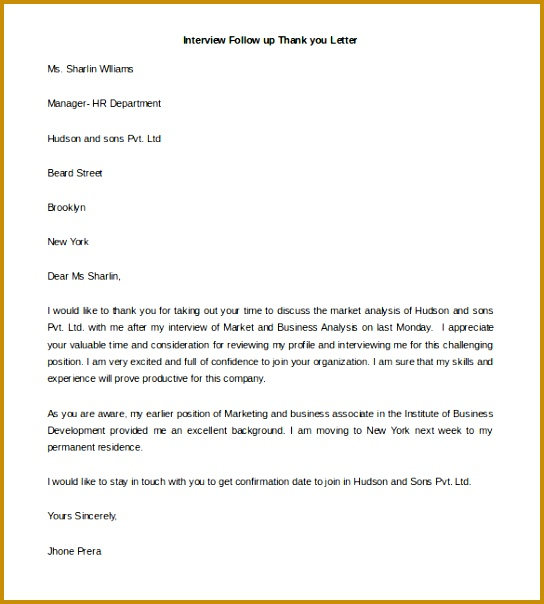 Sample Thank You Letter For Job Interview Lovely Free Thank You Letter Template Fieldstation 604544