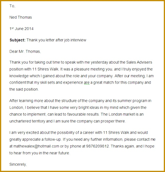 Thank You Letter After Job Interview Email Best Thank You Letter Examples Pdf 581558