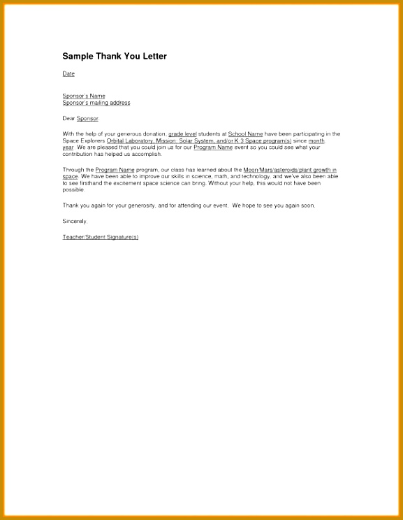 Thank You Letters after Teaching Interview Elegant Thank You Letter for Sponsorship 744577