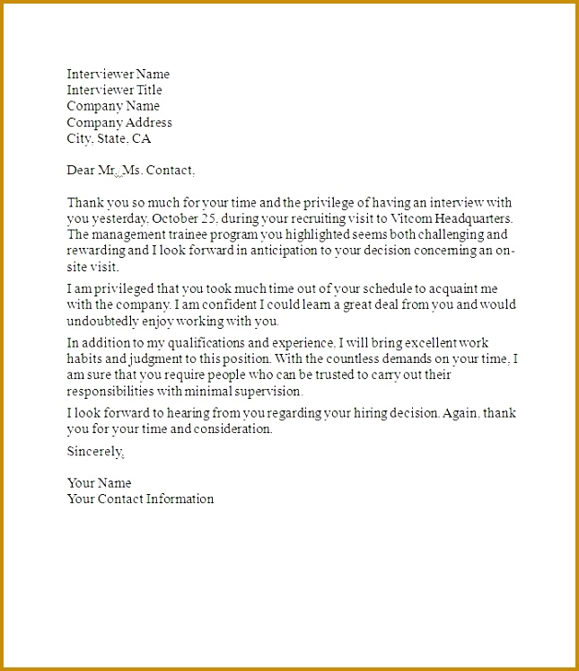 Job Interview Thank You Letter interview thank you letters after a job interview is key 747645