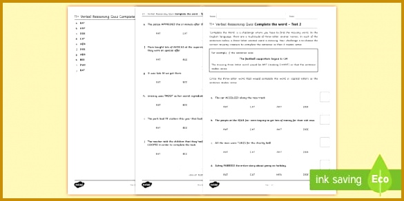 11 verbal reasoning practice paper Three Letter Words 2 Assessment Pack 292585