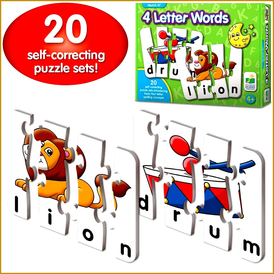 Amazon The Learning Journey Match It 4 Letter Words 20 Self Correcting Reading & Spelling Puzzles 930930