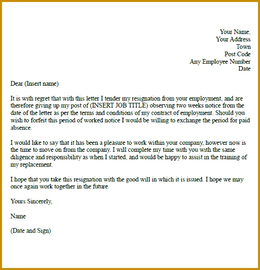 Two Week Resignation Letter Samples 520539